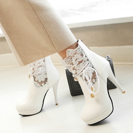 Lace Embroidery Back Zipper Women's Ankle Boots