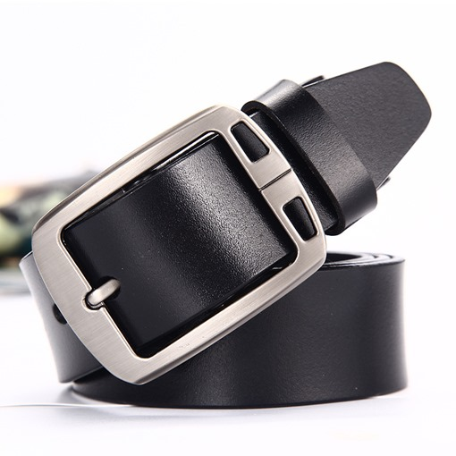 Hollow Out Alloy Pin Buckle Split Cowhide Men's Belts
