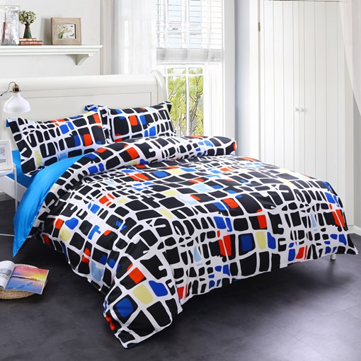 Colorful Blocks Texture Printed 4-Piece Cotton Bedding Sets/Duvet Cover