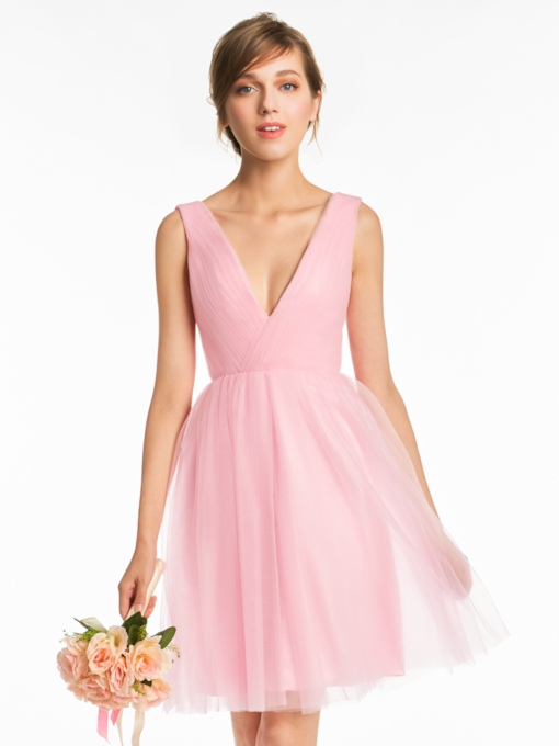 Straps A-Line Tulle Short Bridesmaid Dress