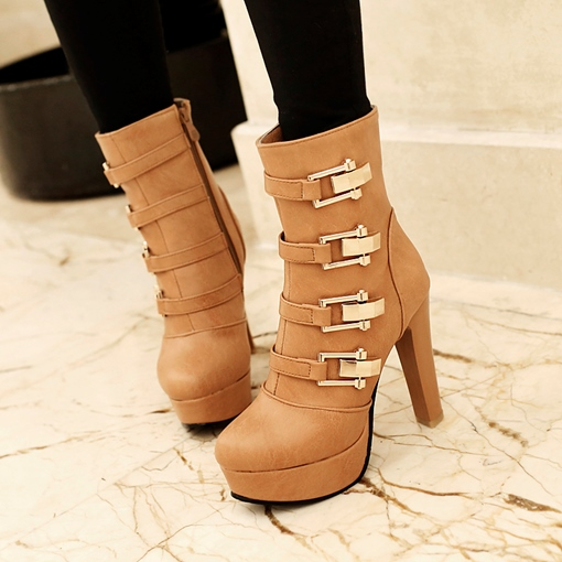 Buckle Side Zipper Short Floss Chunky Heel Women's Fashion Boots