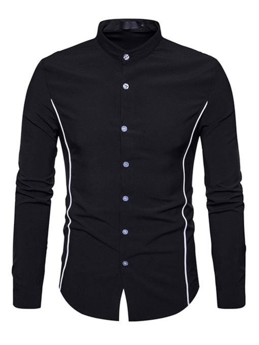 Stand Collar Single-Breasted Color Block Slim Fit Casual Men's Shirt