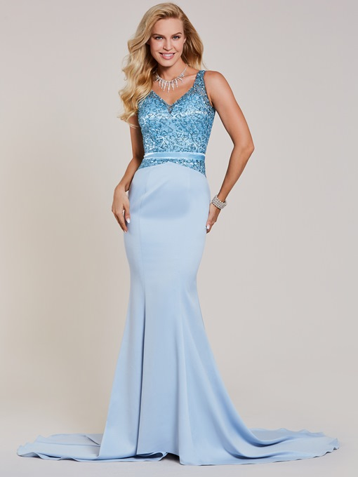 V Neck Beaded Mermaid Evening Dress 821cf6acb722