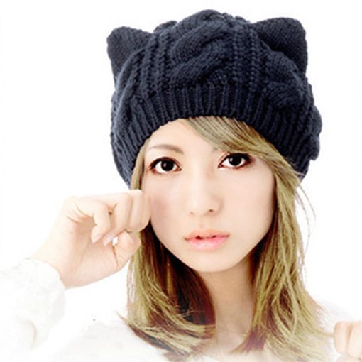 Cat Ears Wool Knitted Cute Korean Style Hats