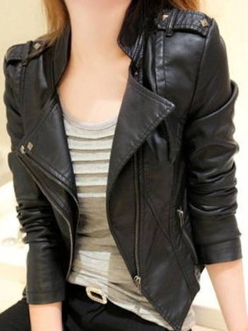 Lapel PU Short Zipper Slim Women's Jacket