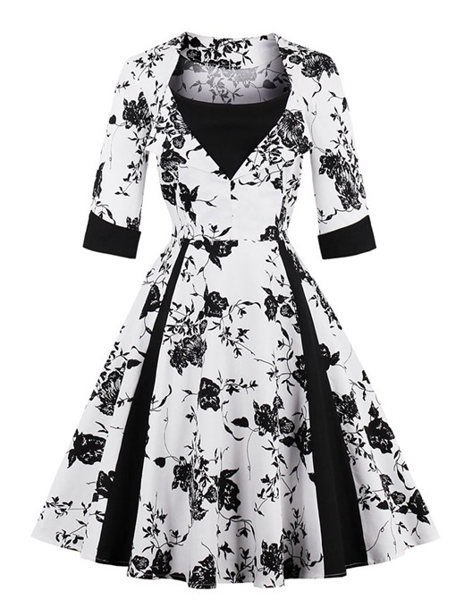3/4 Sleeve Double-Layered Women's Vintage Dress
