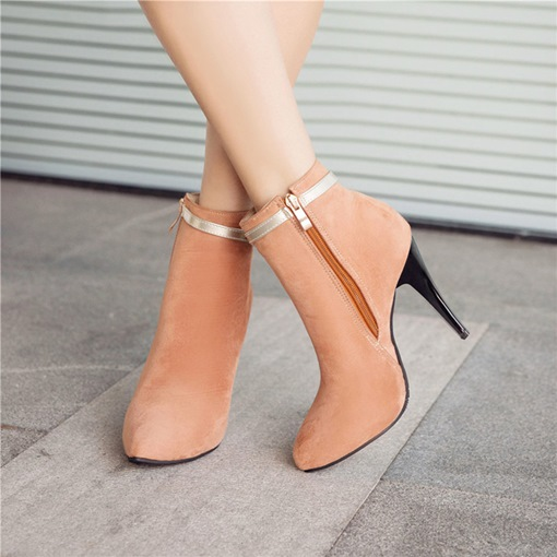 Suede Side Zipper Color Block Bow Women's Sweet Ankle Boots