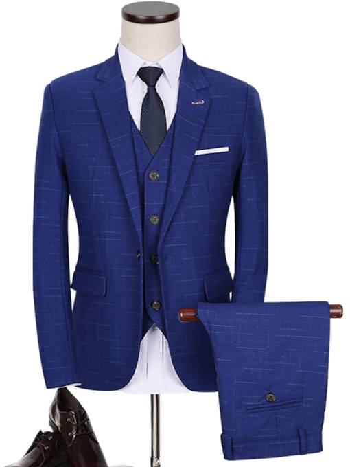 Notched Color A Three-Piece Royal Blue Solid Color Slim Fit Men's Dress Suit