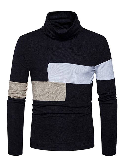 Turtleneck Irregular Patchwork Knit Slim Fit Men's Casual Sweater