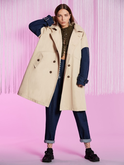 Notched Lapel Double-breasted Color Block Patchwork Women's Trench Coat