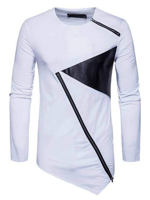 Round Collar Irregular PU Patchwork Zipper Slim Men's Long Sleeve T-Shirt