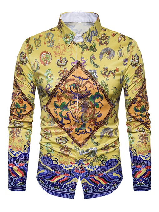 Lapel Color Block Chinese Style Ethnic Dragon Printed Slim Men's Shirt
