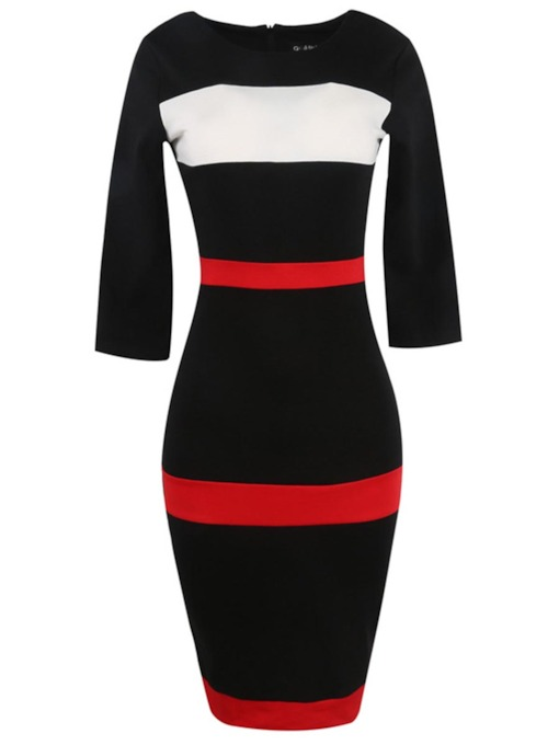 Half Sleeve Striped Women's Sheath Dress