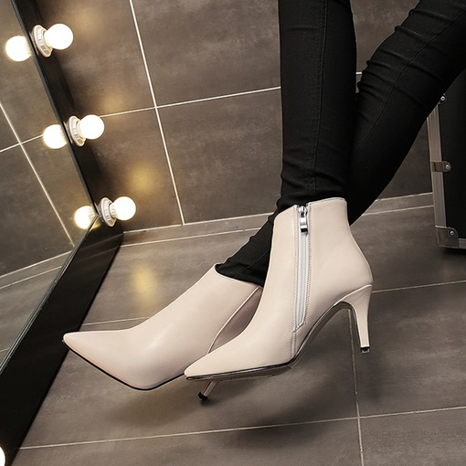 Ultra Heels Solid Side Zipper Kitten Heel Ankle Boots for Women