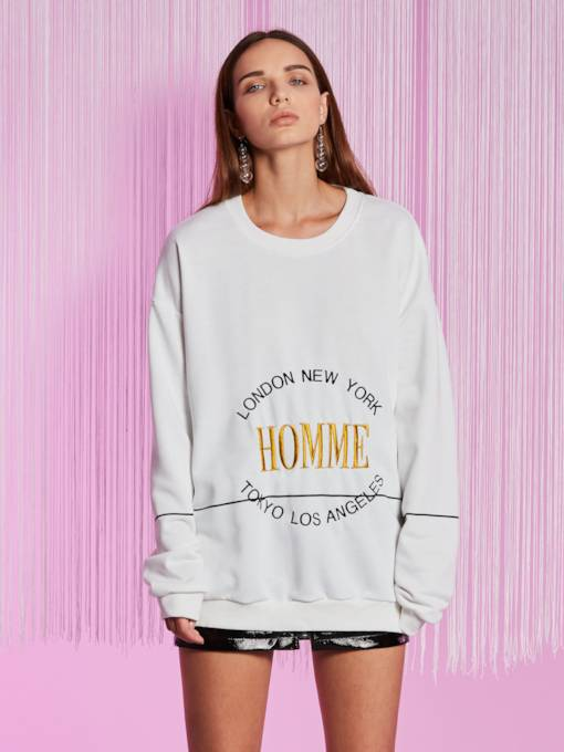 Round Neck Letter Embroideried Women's Sweatshirt