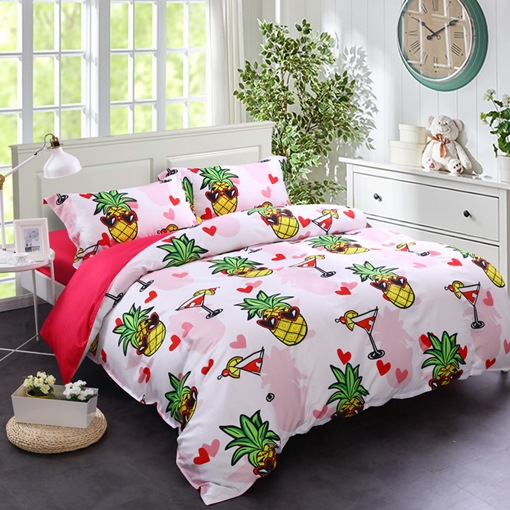 Fruit Pineapple Cute Duvet Cover Set/4 Piece Bedding Set