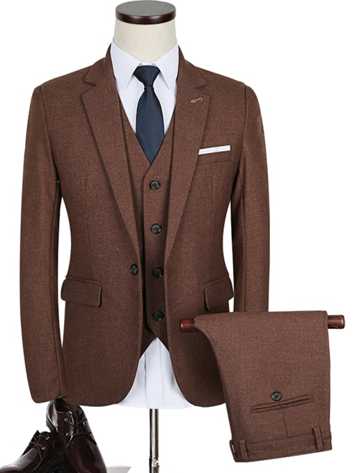 Notched Collar One Button Brown Solid Color Slim Fit Men's Dress Suit