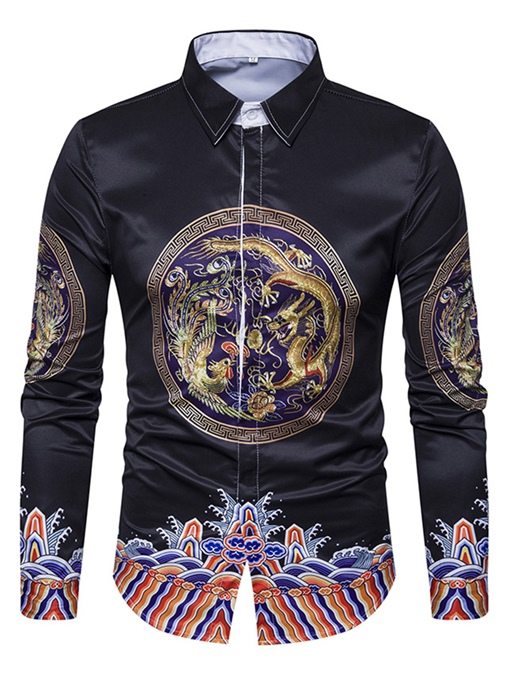 Lapel Totem Dragon Print Slim Fit Men's Shirt