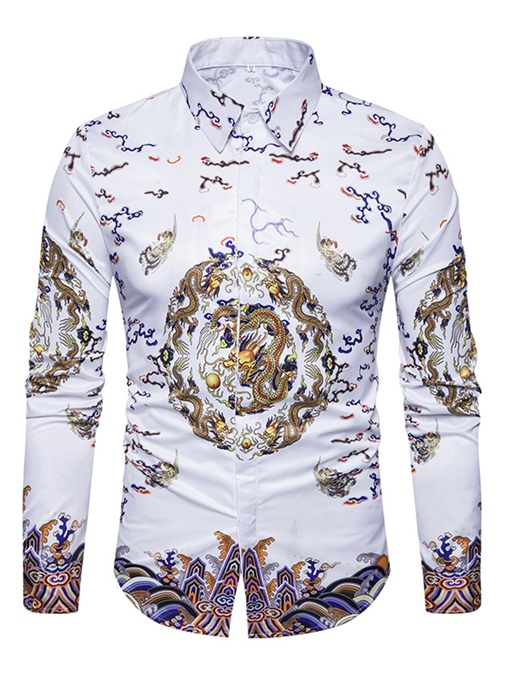 Lapel Chinese Style Ethnic Dragon Print Slim Fit Men's Shirt