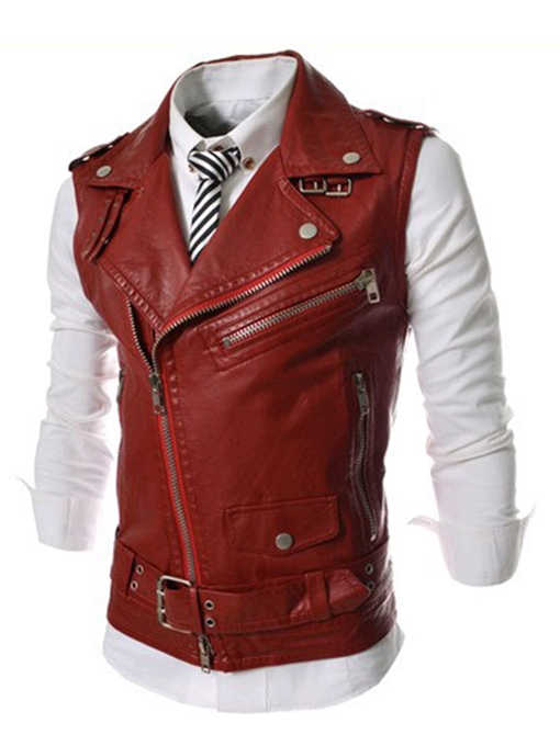 Motor Style Lapel Zipper Decorated Rivet Casual Men's Vogue Vest
