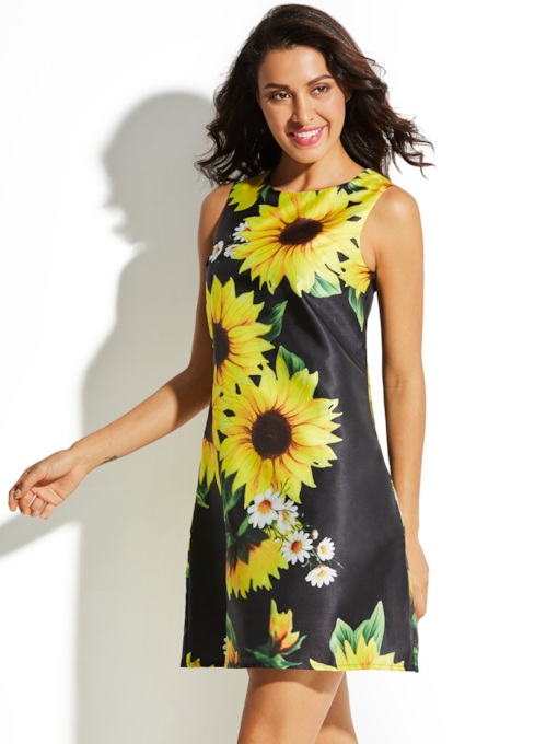 Black Sleeveless Sunflower Pattern Vacation Women's Day Dress