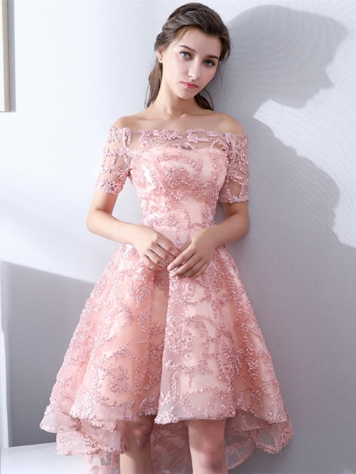 Short Sleeves High Low Lace Homecoming Dress 2019