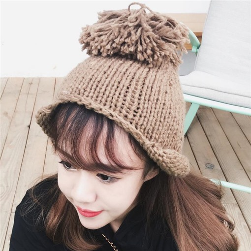 Hemming Big Pompon Wool Cute Knitted Hats