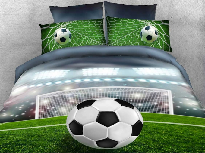 Soccer Ball in front of Goal Printed 3D 4-Piece Bedding Sets Duvet Covers