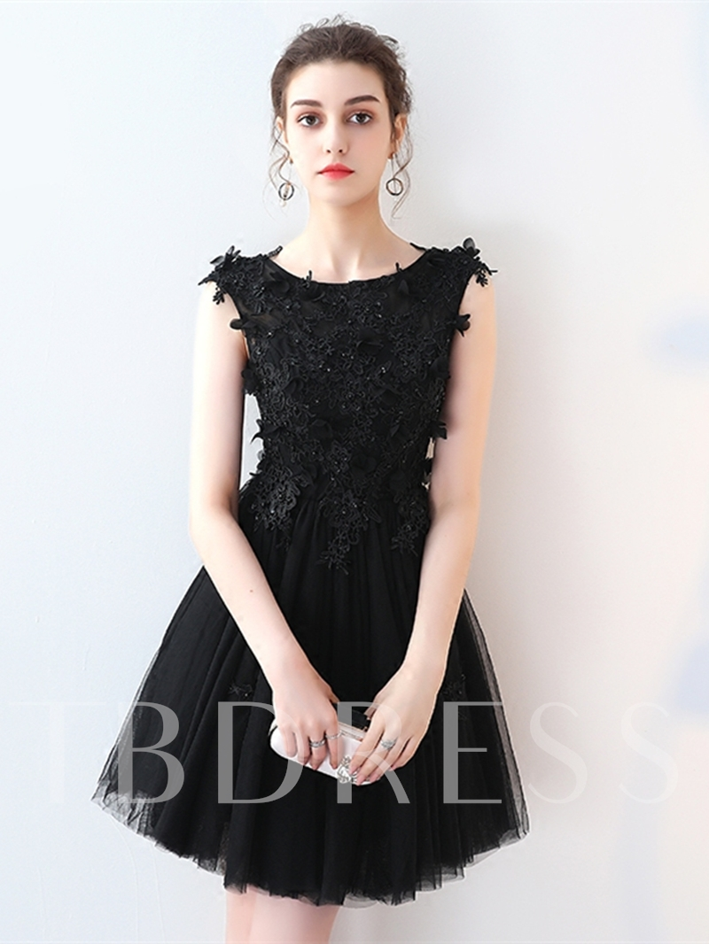 Image of A-Line Appliques Beading Lace Short Homecoming Dress
