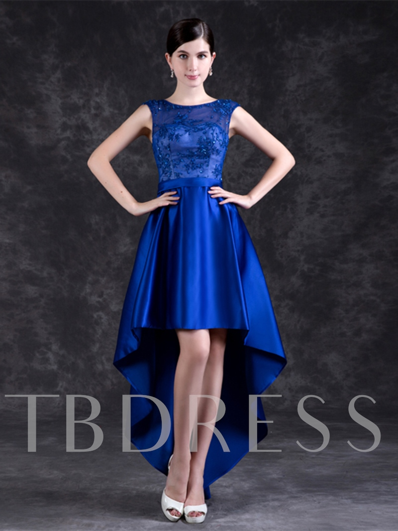 Image of A-Line Appliques Beading Sashes High Low Homecoming Dress