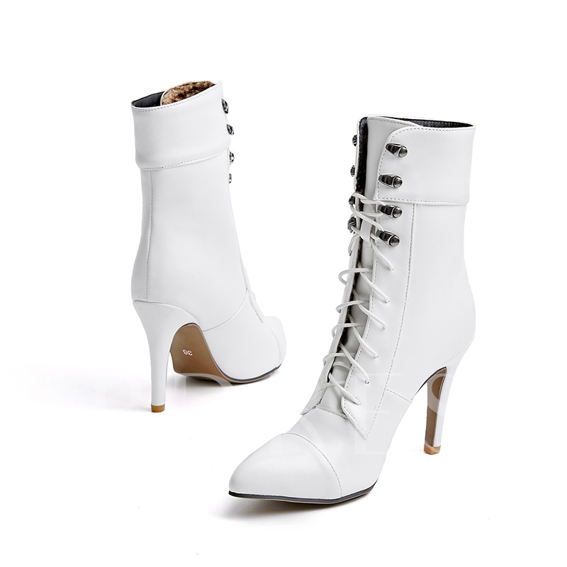 Plus Size Solid Shoes Lace Up High Heel Women's Boots
