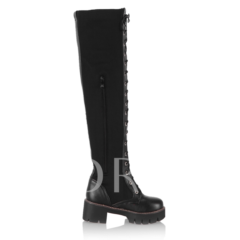 Plus Size Shoes Cross Strap Platform Women's Over the Knee Boots