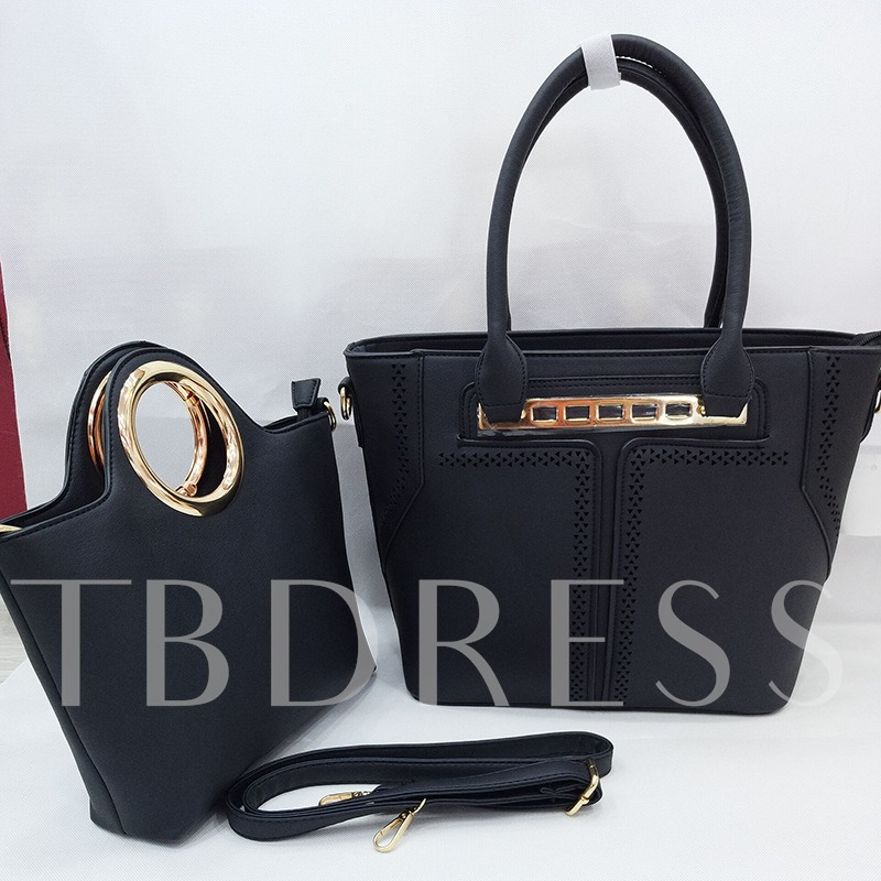 Causal Hollowed Out Solid Color Women Bag Set