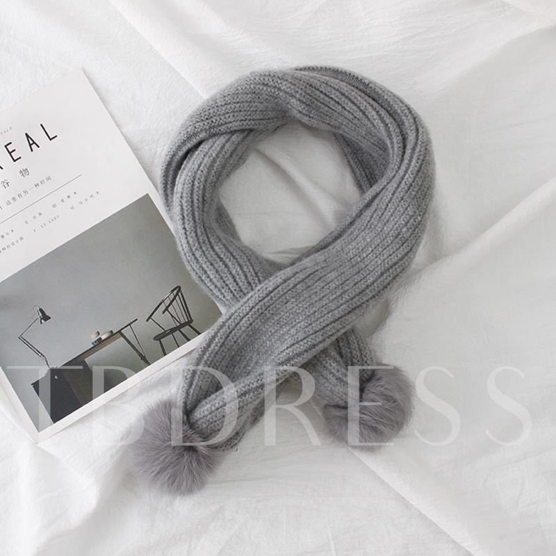 Fuzzy Ball Woolen Yarn Double Layer Scarfs