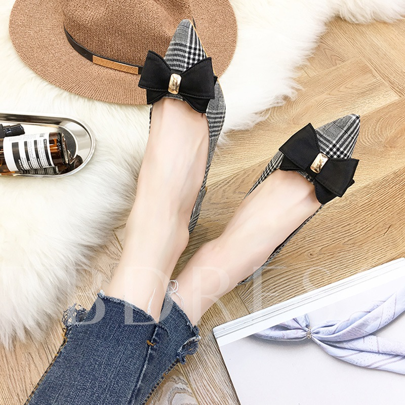 Plaid Bow Sequin Women's Chunky Heel Pump Shoes
