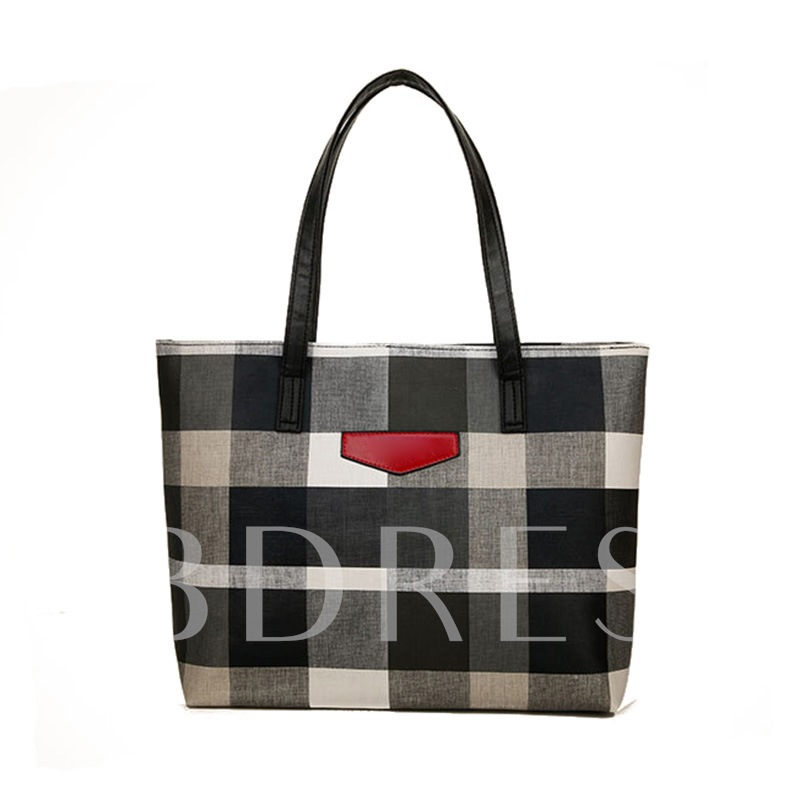 Concise Plaid Pattern Zipper Shoulder Bag
