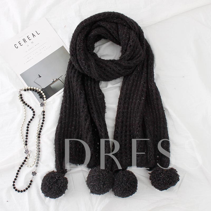 Mohair Fuzzy Ball Solid Color Winter Scarfs