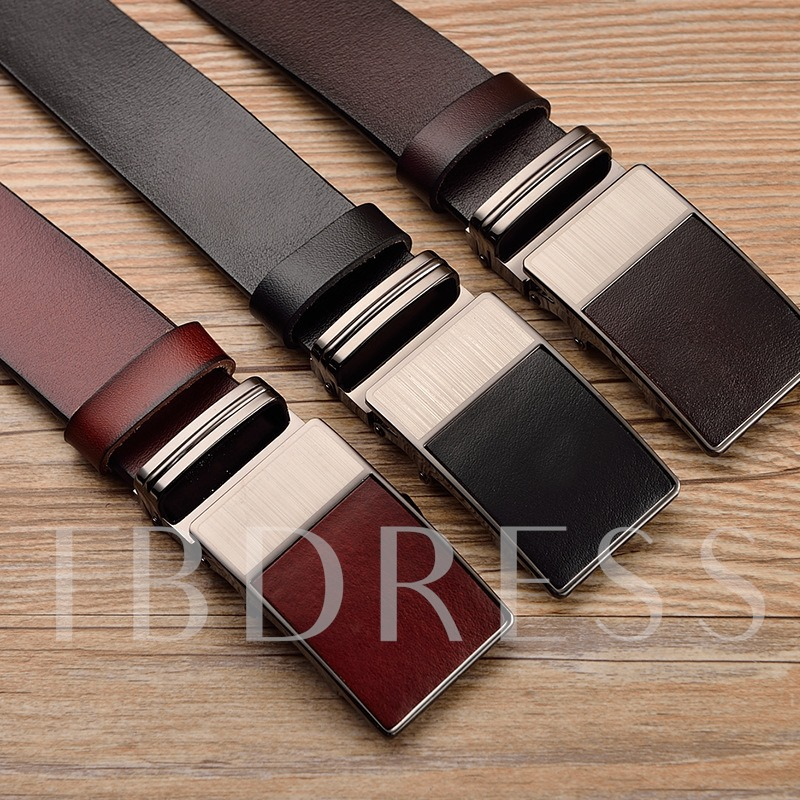 Patchwork Embossed Cowhide Automatic Buckle Men's Belts