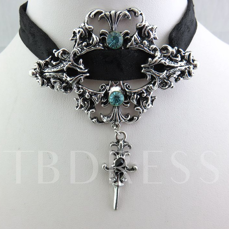 Halloween Gothic Lace Hollow Out Alloy Silver Plated Rhinestone Necklace