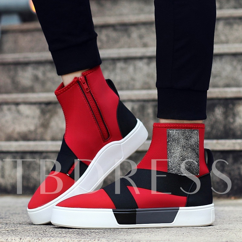 Spandex Zipper Color Block Men's Fashion Sneakers