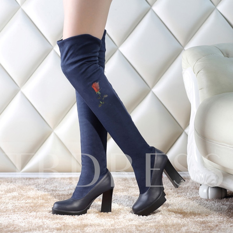 Print Floral Patchwork Over the Knee Boots Women's Chunky Heel Shoes