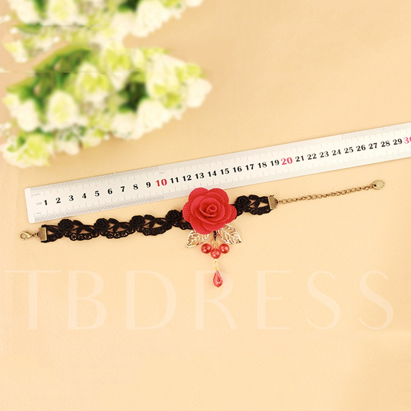 Red Flower Lace Hollow Out Anklet