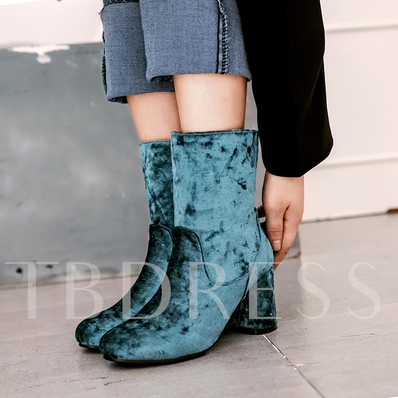 Suede Slip On Women's Chunky Heel Ankle Boots
