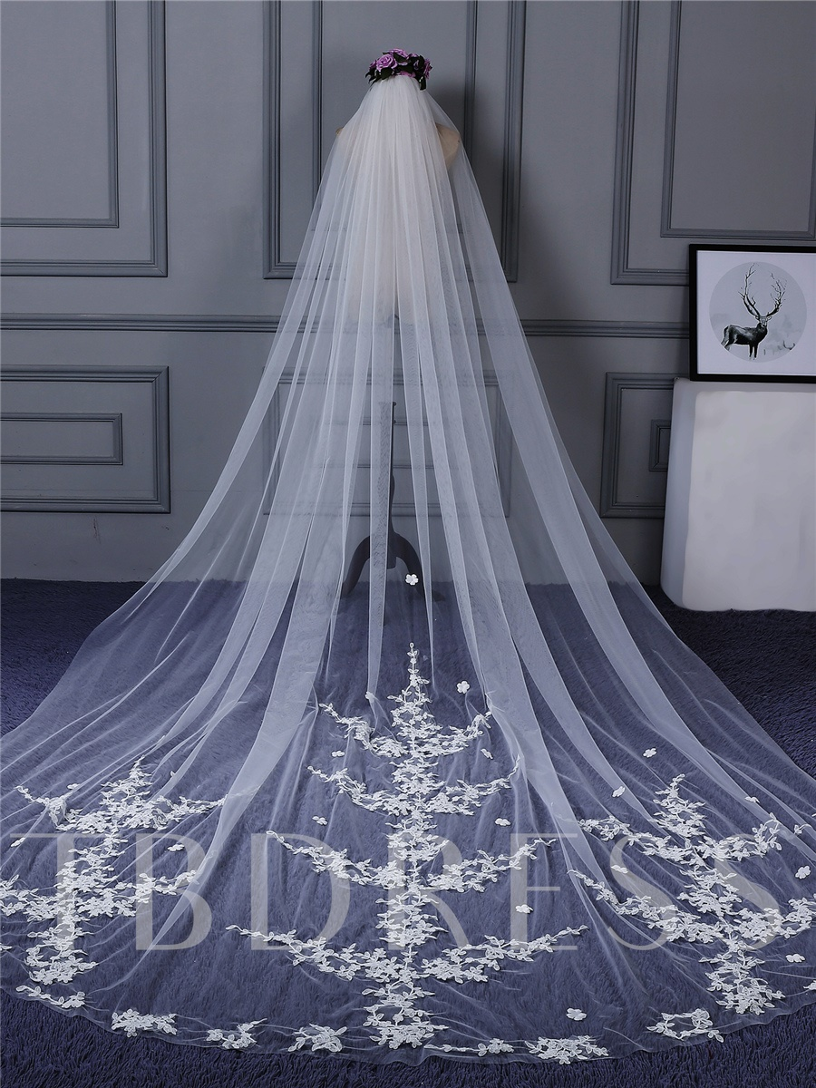 Appliques One Layel Cathedral Bridal Veil