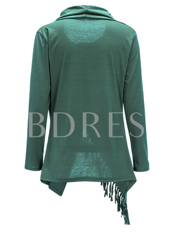 Round Neck Asymmetric Tassels Loose Women's T-shirt