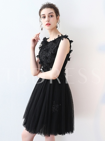 A-Line Appliques Beading Lace Short Homecoming Dress