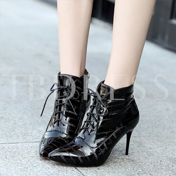 Pointed Toe High Heel Black Boots For Women