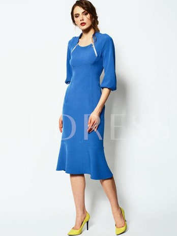 Blue Square Neck Lantern Sleeve Women's Sheath Dress