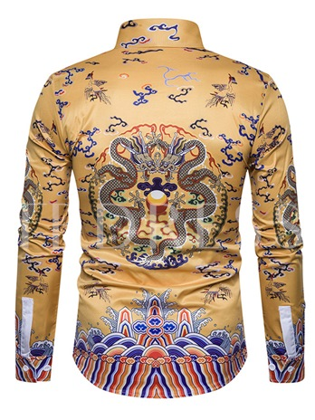 Chinese Style Lapel Vintage Dragon Print Slim Fit Men's Shirt