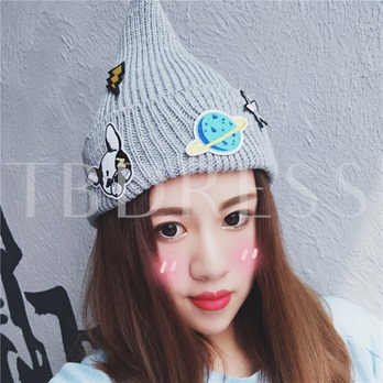 Appliques Tip Knitted Cartoon Cute Hats